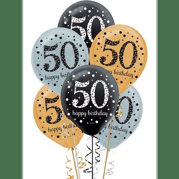 Globos de Látex Celebración 50, 15 piezas