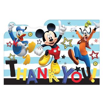 Tarjetas de Agradecimiento Mickey Mouse, 8 piezas