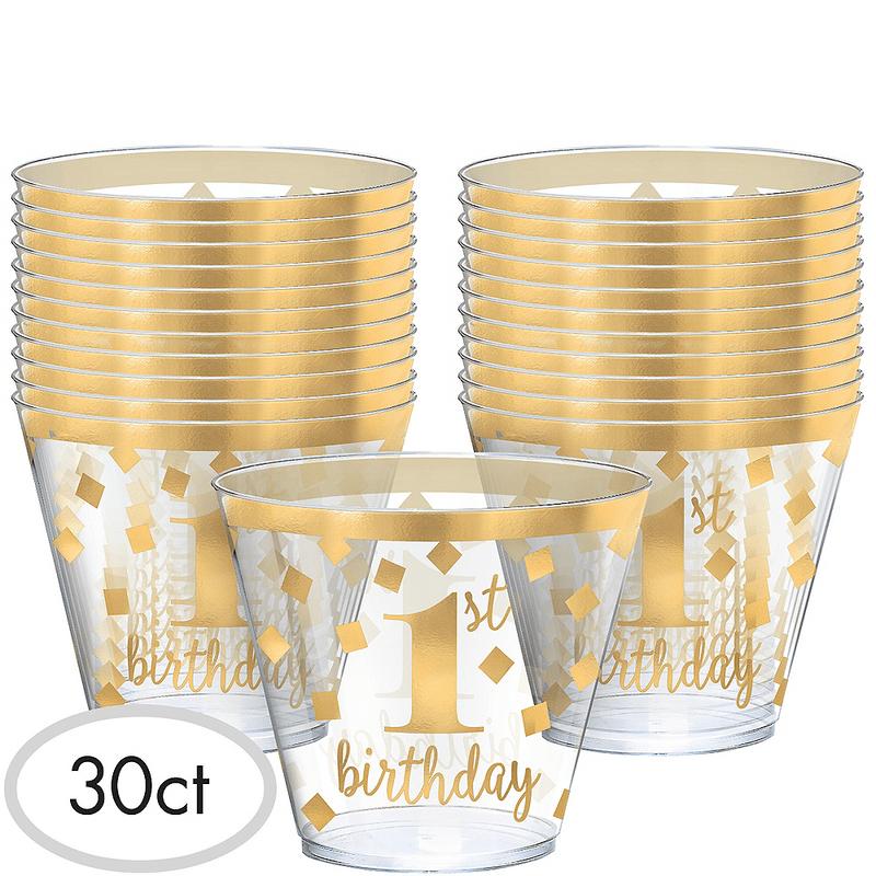 Vasos-de-Plastico-Primer-Cumpleaños-Dorado-30-piezas