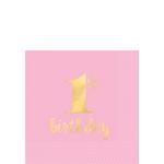 Servilletas-para-Bebidas-Primer-Cumpleaños-Rosa-con-Dorado-16-piezas