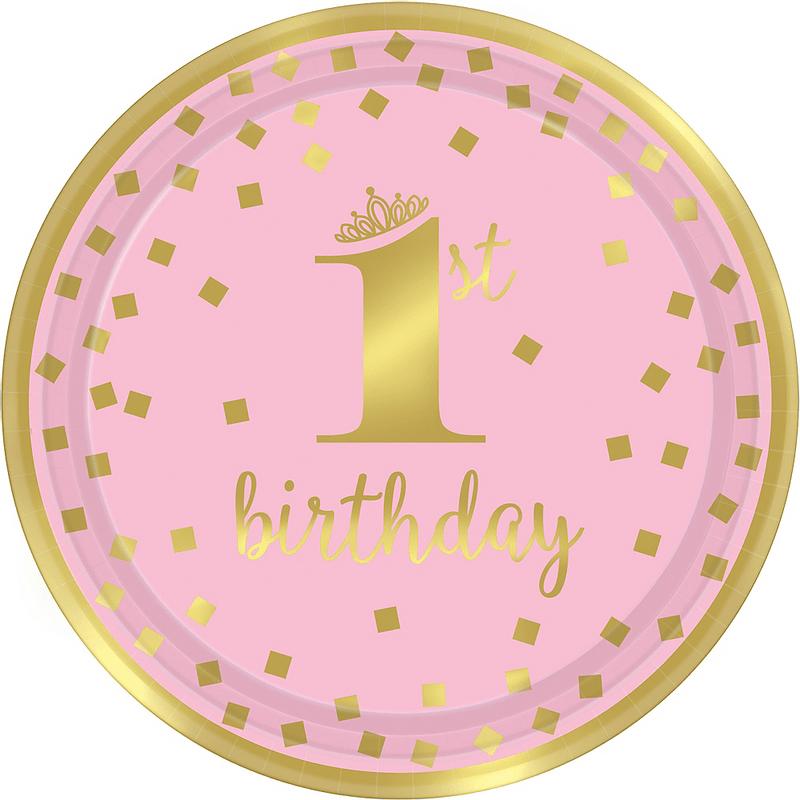 Platos-Redondos-de-Papel-Primer-Cumpleaños-Confeti-Rosa-con-Dorado-8-piezas