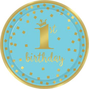 Platos de Papel Primer Cumpleaños Confeti Azul con Dorado de 9 Pulgadas, 8 piezas