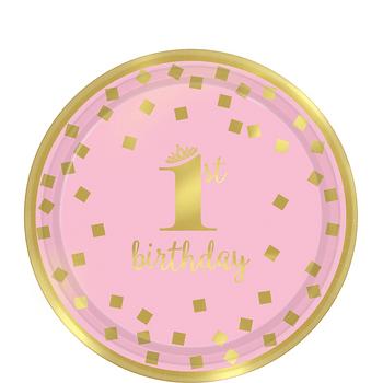 Platos de Papel Primer Cumpleaños Confeti Rosa con Dorado de 7 Pulgadas, 8 piezas