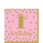 Servilletas-para-Lunch-Primer-Cumpleaños-Confeti-Rosa-con-Dorado-16-piezas