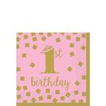 Servilletas-para-Bebidas-Primer-Cumpleaños-Confeti-Rosa-con-Dorado-16-piezas