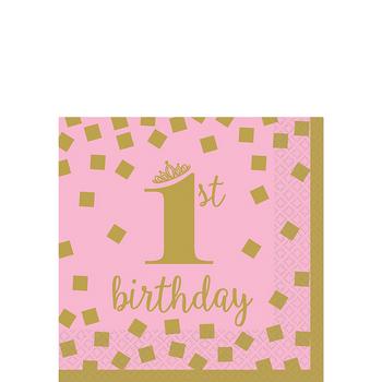 Servilletas para Bebidas Primer Cumpleaños Confeti Rosa con Dorado, 16 piezas