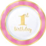 Platos-Redondos-de-Plastico-Primer-Cumpleaños-Rosa-con-Dorado-10-piezas
