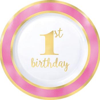Platos de Plástico Primer Cumpleaños Rosa con Dorado de 10.25 Pulgadas, 10 piezas