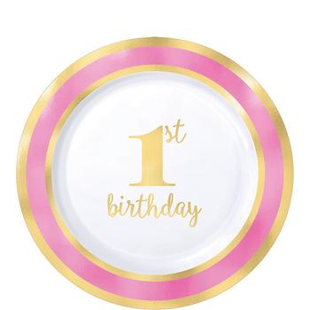 Platos de Plástico Primer Cumpleaños Rosa con Dorado de 7.25 Pulgadas, 10 piezas