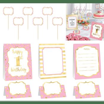 Kit de Decoración para Buffet Primer Cumpleaños Rosa, 12 piezas