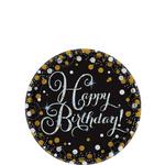Platos-Redondos-de-Papel-Happy-Birthday-Negro-con-Dorado-y-Plata-8-piezas