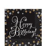 Servilletas-para-Lunch-Happy-Birthday-Negro-con-Dorado-y-Plata-16-piezas