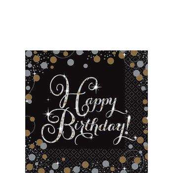 Servilletas para Bebidas Happy Birthday Negro con Dorado y Plata, 16 piezas