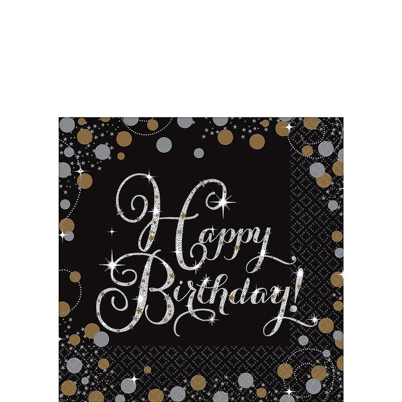 Servilletas-para-Bebidas-Happy-Birthday-Negro-con-Dorado-y-Plata-16-piezas