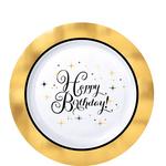 Platos-Redondos-de-Plastico-Happy-Birthday-Dorado-con-Blanco-10-piezas