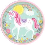 Platos-Redondos-de-Papel-Unicornio-Magico-8-piezas