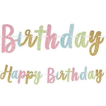 Banner Happy Birthday Colores Pastel