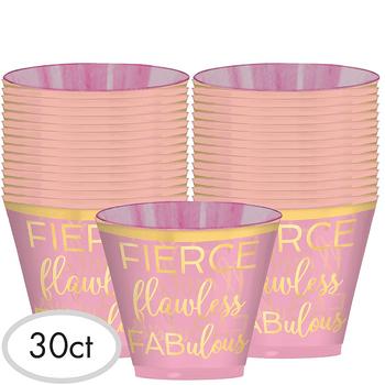 Vasos de Plástico Rosa con Dorado 9 oz, 30 piezas