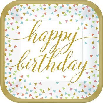 Platos de Papel Happy Birthday Colores Pastel de 9 Pulgadas, 18 piezas