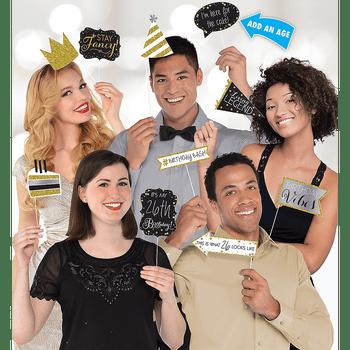 Accesorios para Fotos Cumpleaños Negro y Dorado, 13 piezas