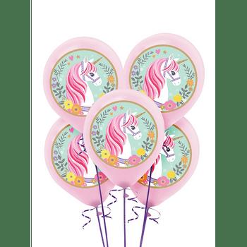 Globos de Látex Unicornio Mágico, 5 piezas