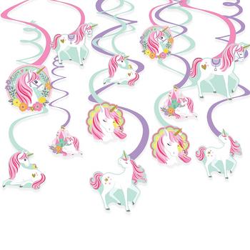 Decoraciones Colgantes en Espiral Unicornio Mágico, 12 piezas