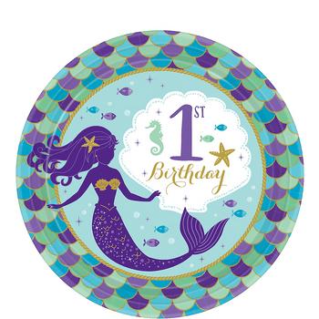 Platos de Papel Primer Cumpleaños Sirenas - 7 Pulgadas, 8 piezas