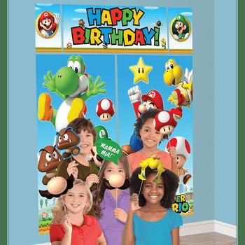Montaje Escénico con Accesorios para Fotos Super Mario