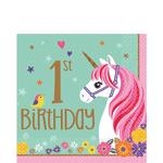 Servilletas-para-Lunch-Primer-Cumpleaños-Unicornio-Magico-16-piezas