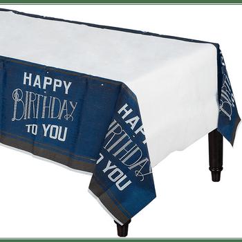 Mantel de Plástico Happy Birthday Azul Marino