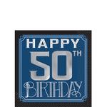 Servilletas-para-Bebidas-Cumpleaños-50-Azul-Marino-16-piezas