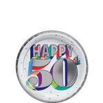 Platos-Redondos-de-Papel-Cumpleaños-50-Metalico-8-piezas