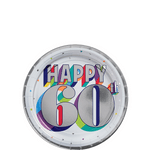 Platos-Redondos-de-Papel-Cumpleaños-60-Metalico-8-piezas