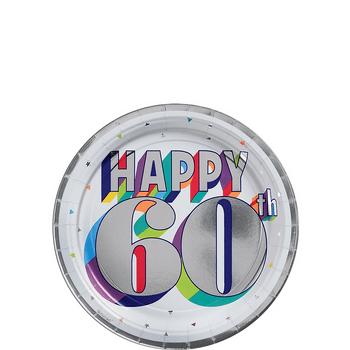 Platos de Papel Cumpleaños Metálico de 7 Pulgadas, 8 piezas