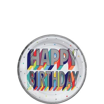 Platos de Papel Happy Birthday Metálico de 7 Pulgadas, 8 piezas
