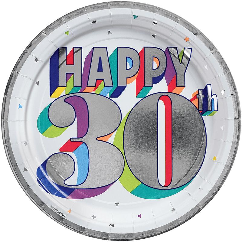 Platos-Redondos-de-Papel-Cumpleaños-30-Metalico-8-piezas