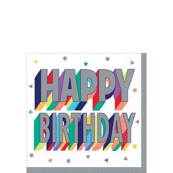 Servilletas para Bebidas Happy Birthday Metálico, 16 piezas