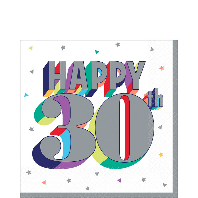 Servilletas-para-Lunch-Cumpleaños-30-Metalico-16-piezas