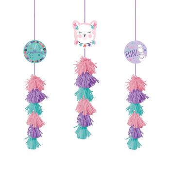 Decoración Colgante con Borlas Llama, 3 piezas
