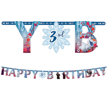 Kit Banner Happy Birthday Personalizable Frozen 2