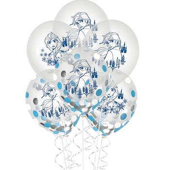 Globos de Látex Confeti Frozen 2, 6 piezas