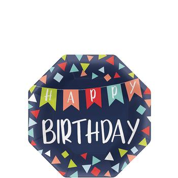 Platos de Papel Happy Birthday - 7 Pulgadas, 8 piezas
