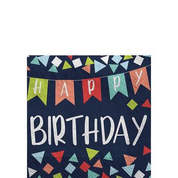 Servilletas para Bebidas Happy Birthday Azul, 16 piezas