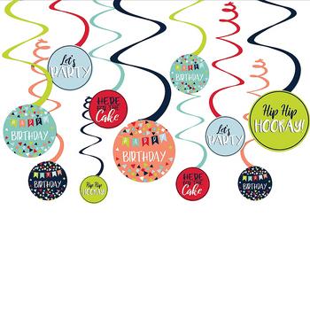 Decoraciones Colgantes en Espiral Cumpleaños, 12 piezas