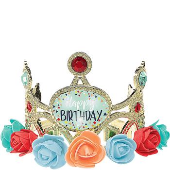 Tiara Luminosa de Cumpleaños con Flores