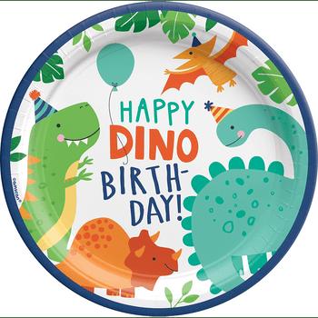 Platos de Papel Fiesta Dinosaurios de 9 Pulgadas, 8 piezas