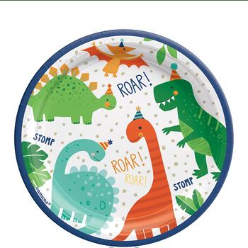 Platos de Papel Fiesta Dinosaurios - 7 Pulgadas, 8 piezas