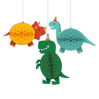 Decoraciones Colgantes de Papel Fiesta Dinosaurios, 3 piezas