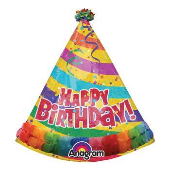 Globo Metálico Multicolor en forma de Gorrito de Fiesta Happy Birthday, 29 Pulgadas