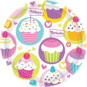Platos de Papel Cumpleaños Cupcakes de 7 Pulgadas, 8 piezas